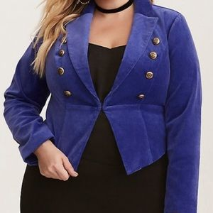 Torrid Purple/Blue Velvet Military Blazer. Size 3